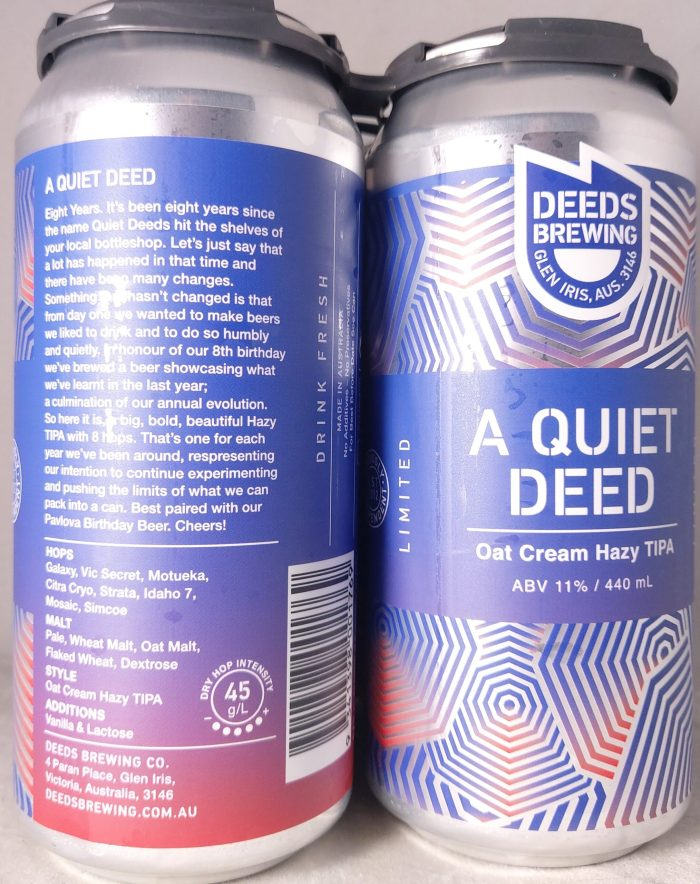 Deeds Brewing A Quiet Deed Oat Cream Hazy TIPA 440ml Back Label