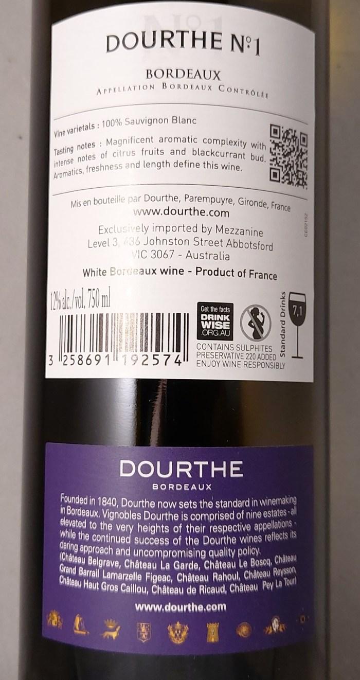 Dourthe No1 Bordeaux 2016 Back Label
