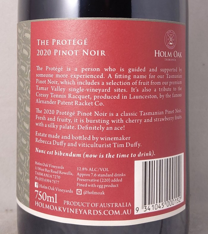 Holm Oak Protege Tasmania Pinot Noir 2020 Back Label