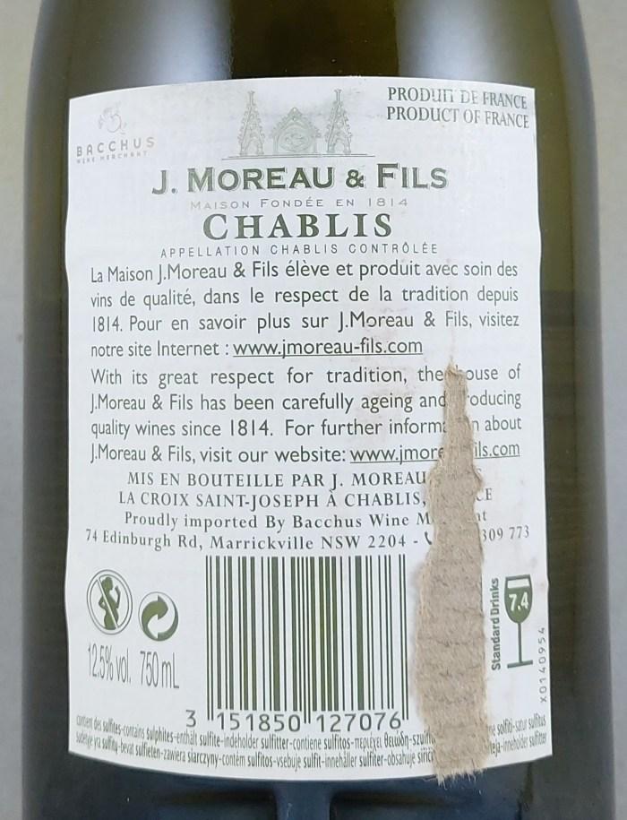 J Moreau & Fils Chablis AC 2018 Back Label