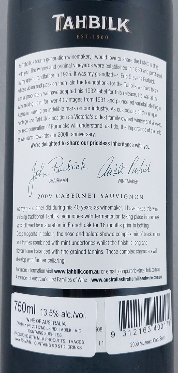 Tahbilk Museum Release Nagambie Cabernet Sauvignon 2009 Back Label