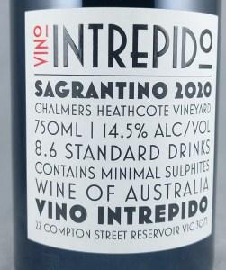 Vino Intrepido Sacred + Profane Heathcote Sagrantino 2020 Back Label