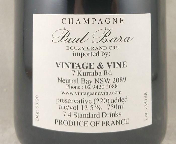 Paul Bara Grand Rose Brut Bouzy Grand Cru NV Back Label