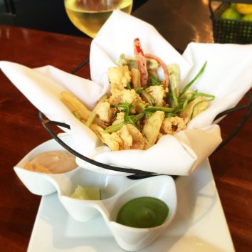 Crispy Calamari with Avocado Tomatillo and Chipotle Aioli