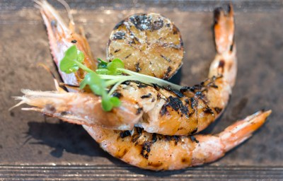Head on Prawns with charred lime and suduchi salt.