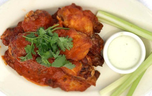 Wings with marinara, celery and blue cheese dressing - Pizzeria Tra Vigne - St. Helena