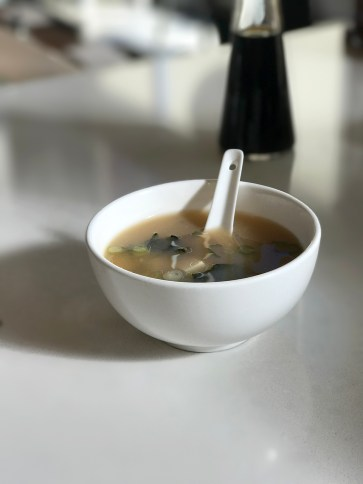 Nice serving of hot Miso Soup - part of the Lunch Bento Box at Eiko's