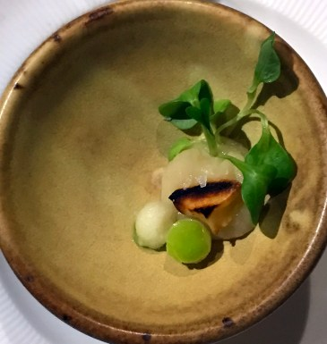 Amuse-bouche of lemongrass parsnip pureé, Granny Smith apples and maché or edible greens.