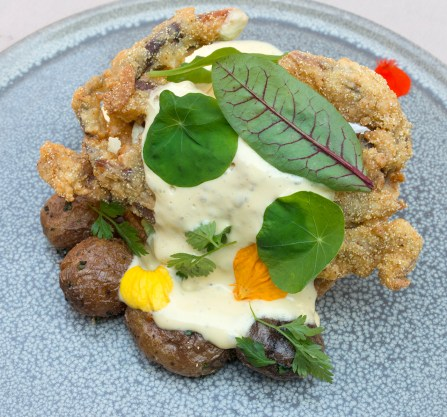 Soft Shell Crab Benedict with Sea Urchin Hollandaise and Fingerling Potatoes