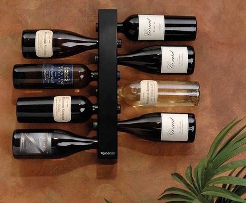 vynebar 8 bottle black vertical wine rack
