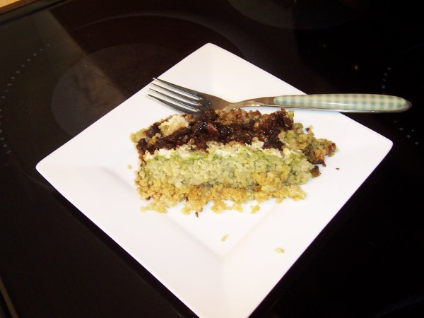 Quinoa with Roasted Garlic Goat Cheese, Sun-dried Tomatoes and Pesto