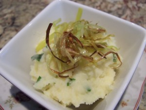 Potato Mash with Celeriac, Parsnips and Frizzled Leeks