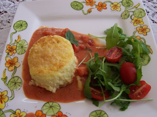 Garlic Goat Cheese Souffle