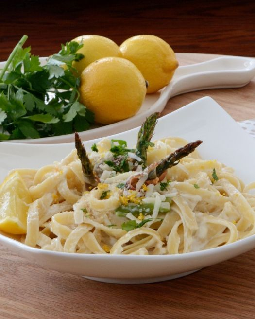 I can't bring myself to make jam or real Fettuccine Alfredo... too much sugar, too much fat. I don't have an answer for the jam but this Fettuccine Lemoncello is fabulous and guilt-free!