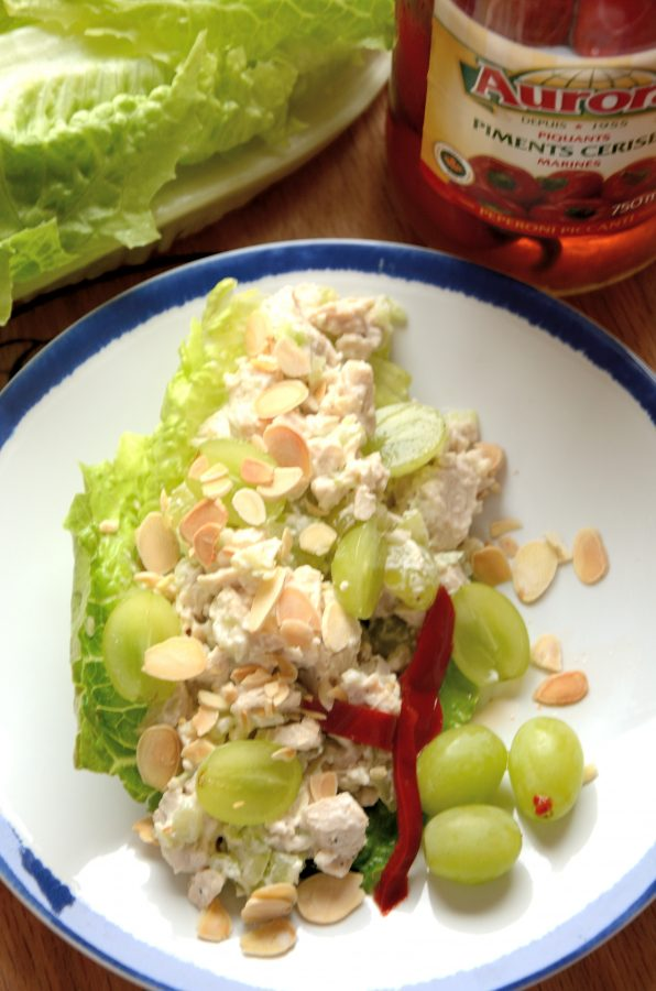 This healthy Chicken Salad is a quick way to use up leftover chickenand create a substantial salad. It makes a very refreshing light meal with a base of greens.