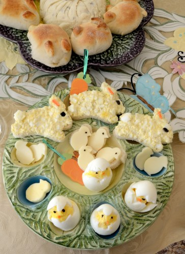Open face bunny egg salad sandwishes and hard boiled egg 'chicks'
