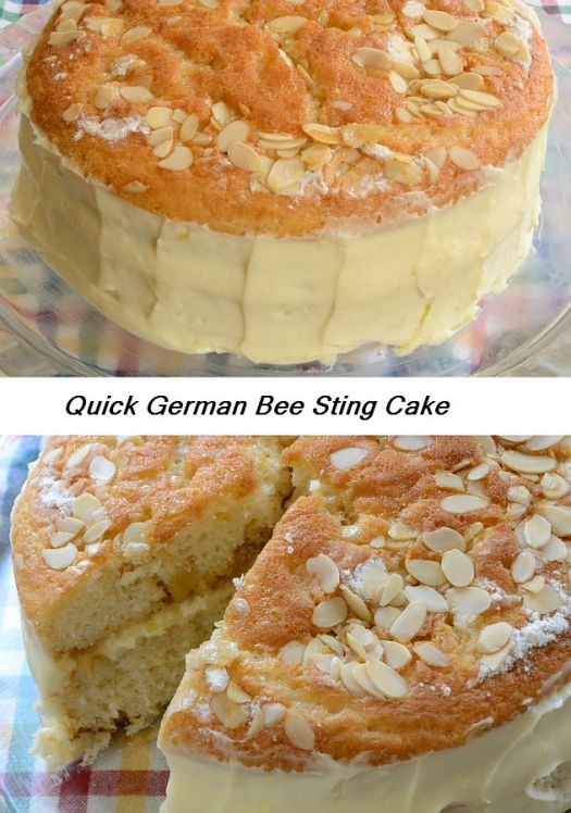 This is a quick and easy variation of the classic German Bee Sting Cake that gives you a butter cream torte flavour without the labour intensity!  Honey, almond and bavarian style cream filling...yum!