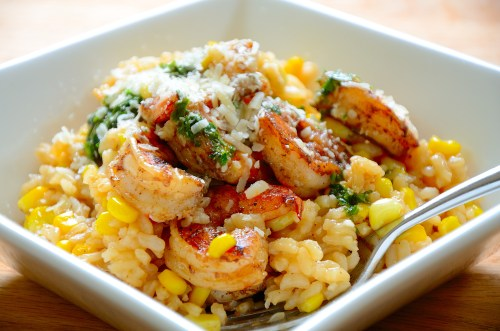 Fresh Corn and Shrimp Risotto With Salsa Verde