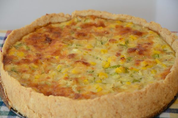 Corn quiche with parmesan pastry
