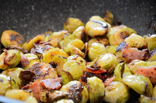 Brussel Sprouts caramelized with bacon and balsamic fig jam