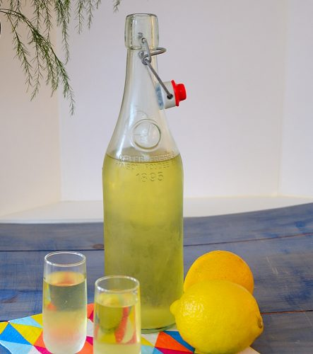 Limoncello bottle with 2 shots