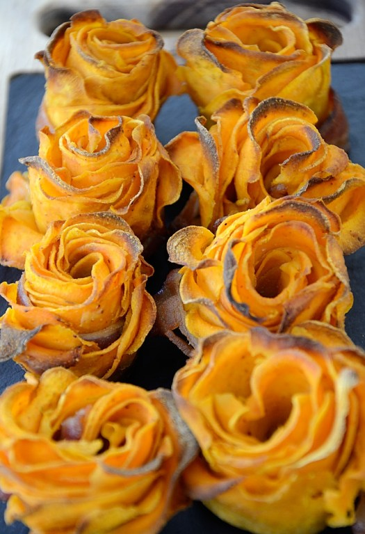 Sweet Potato Roses! What a fun and tasty way to up your meal presentation!