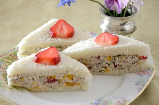 Strawberry Chicken Salad Tea Sandwiches