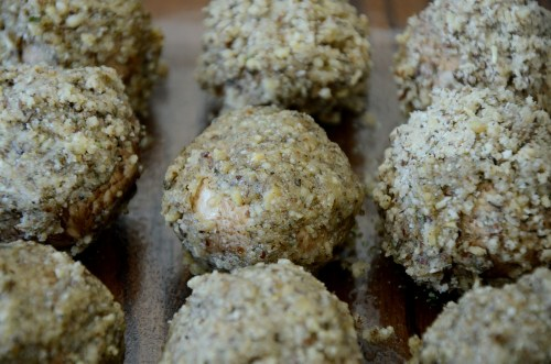 Nut Covered Mushrooms Ready to Bake