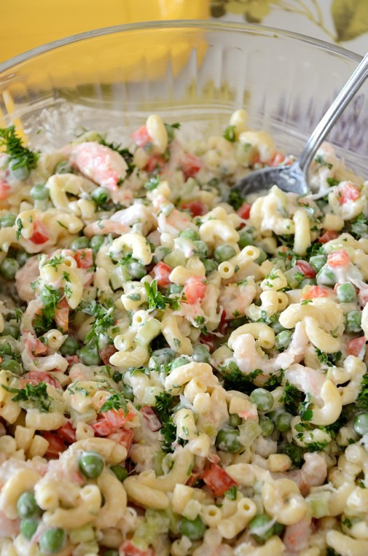 This Seafood Pasta Salad uses cold Atlantic shrimp and crab meat for a delicious summer supper. Fresh garden peas are also a great addition.