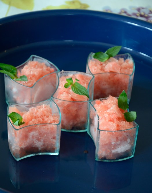 This Watermelon Granita is a nice touch to cleanse the palate between courses. You could also serve it as an after dinner refreshment.