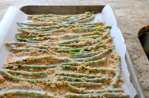 Green Beans on Baking Sheet
