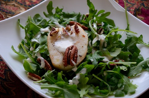Roasted Pear Salad with Blue Cheese Dressing and Pecan Garnish