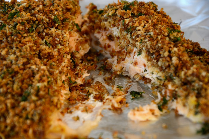 Baking sheet with Herb crusted salmon