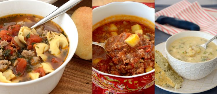 Collage of Tuscan Sausage Soup, Hamburger Soup and Smoky Scallop Chowder