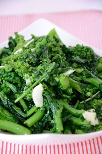 Closeup of cooked Rapini