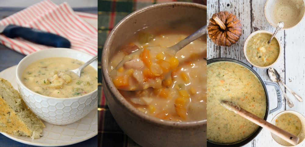 A collage of 3 chowders; a corn chowder, a potato bacon chowder and a turkey bacon vegetable chowder