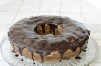 Bundt cake made with banana and chocolate chip and glazed with chocolate