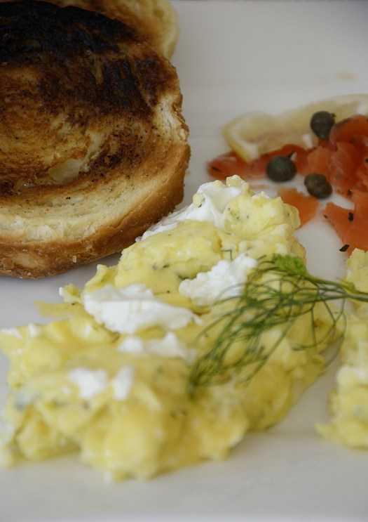 Scrambled Eggs With Goat Cheese and Dill
