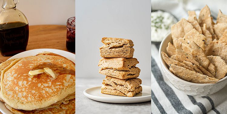 Collage of sourdough discard recipes including pancakes, biscuits and crackers.