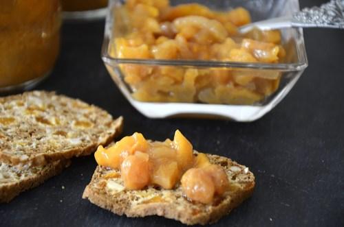 Persimmon chutney on an Artisanal cracker.