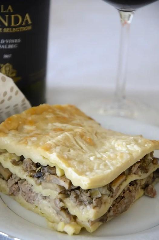 Creamy Mushroom Lasagna With Ground Beef
