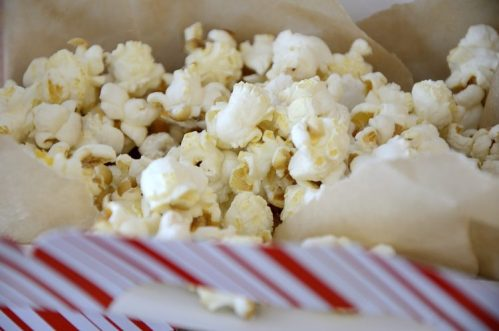 Close up of jumbo popcorn with sweet and salty flavouring.