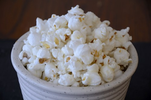 Bowl of fluffy sweet and salty popcorn.