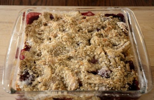 Oven baked pan of golden brown Oaty Fruit Crumble.