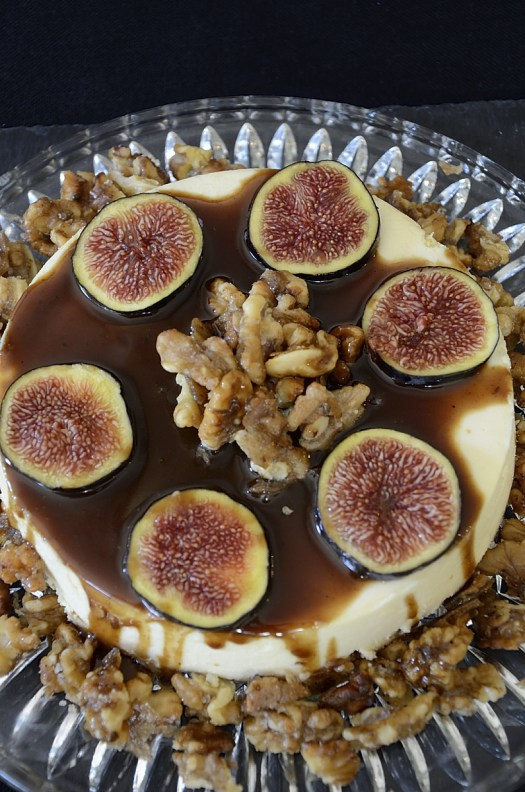 Fig Cheesecake With Balsamic Caramel Sauce and Candied Walnuts