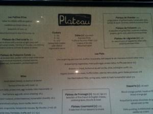 Plateau menu