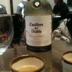 Casillero del Diablo pinot grigio and Korean food