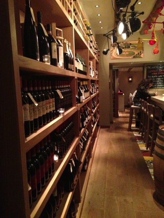 wall of Italian wine