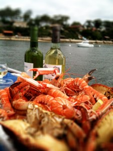 white wine and seafood
