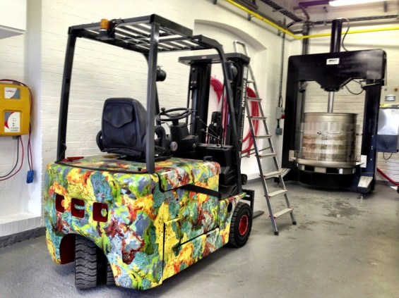 the forklift and press
